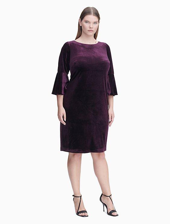 Plus Size Velvet Bell Sleeve Sheath Dress Calvin Klein