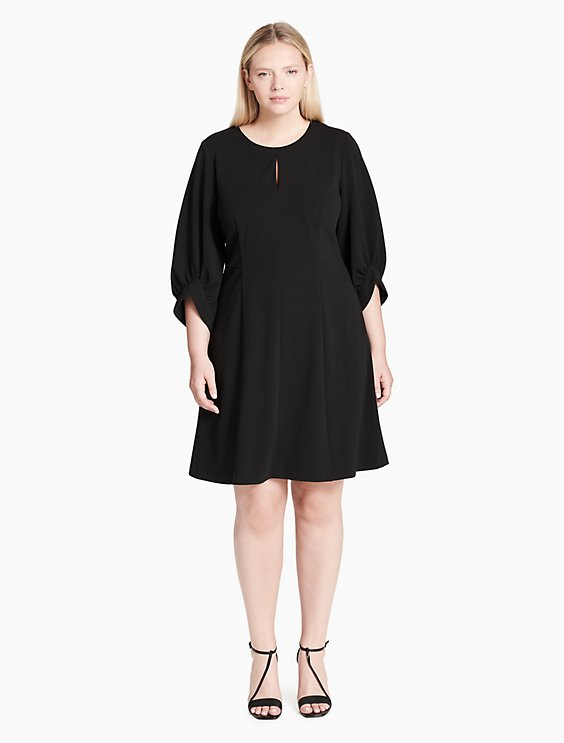 Plus Size 34 Balloon Sleeve Flare Dress Calvin Klein