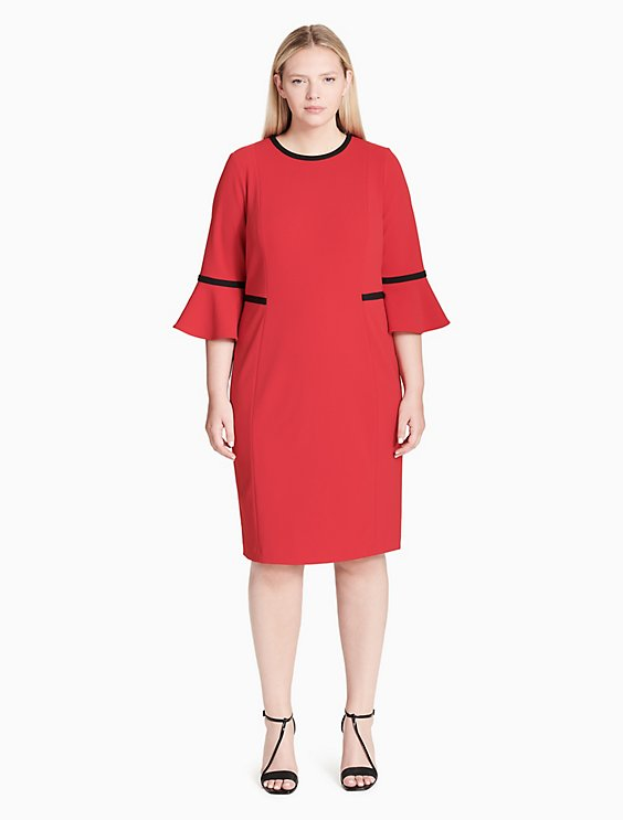 Plus Size Piped Bell Sleeve Sheath Dress Calvin Klein