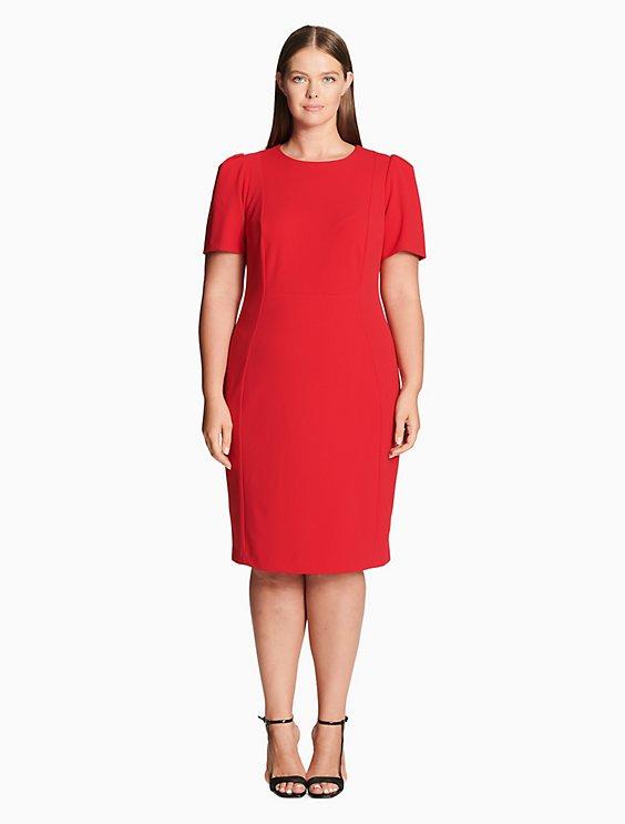 Plus Size Solid Short Sleeve Sheath Dress Calvin Klein