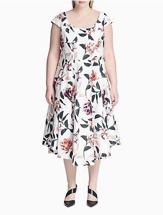 08d9176612 Plus Size Floral Print Cap Sleeve Dress