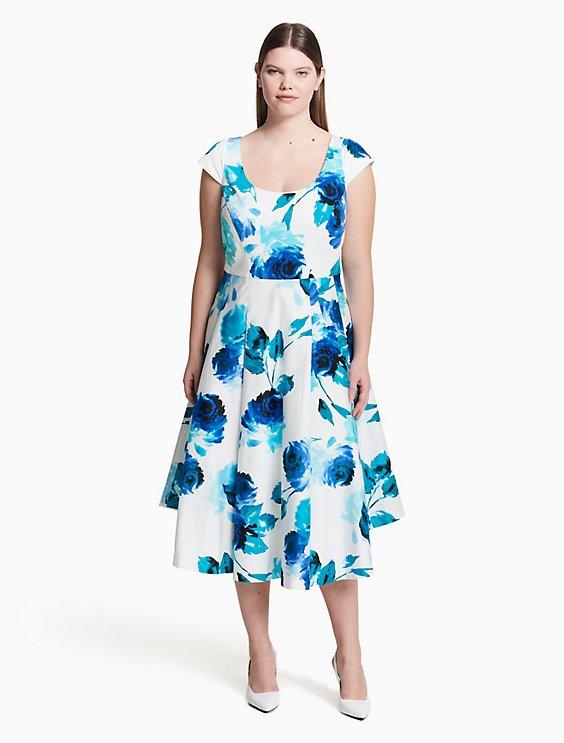 Plus Size Floral Fit Flare Dress Calvin Klein