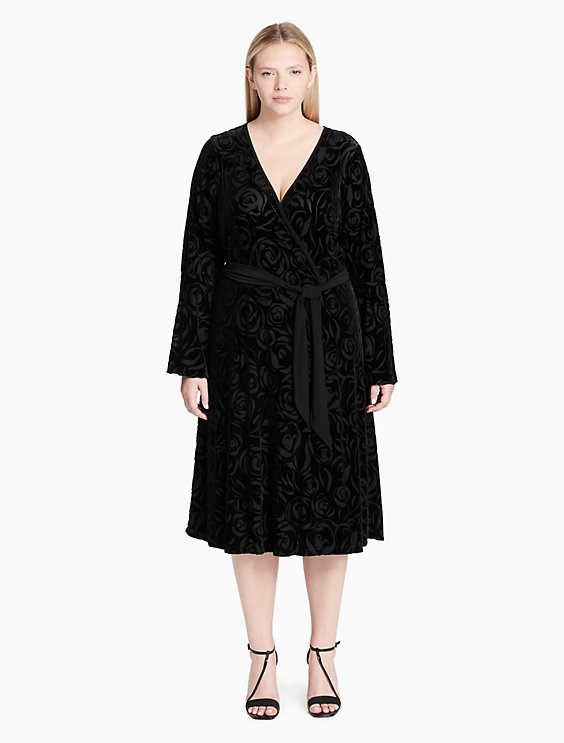 Plus Size Floral Velvet V Neck Belted Dress Calvin Klein