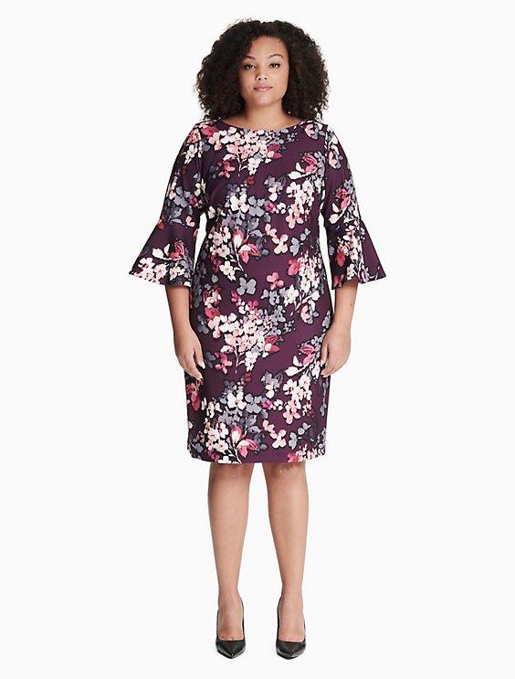 473cecae plus size floral bell sleeve dress | Calvin Klein