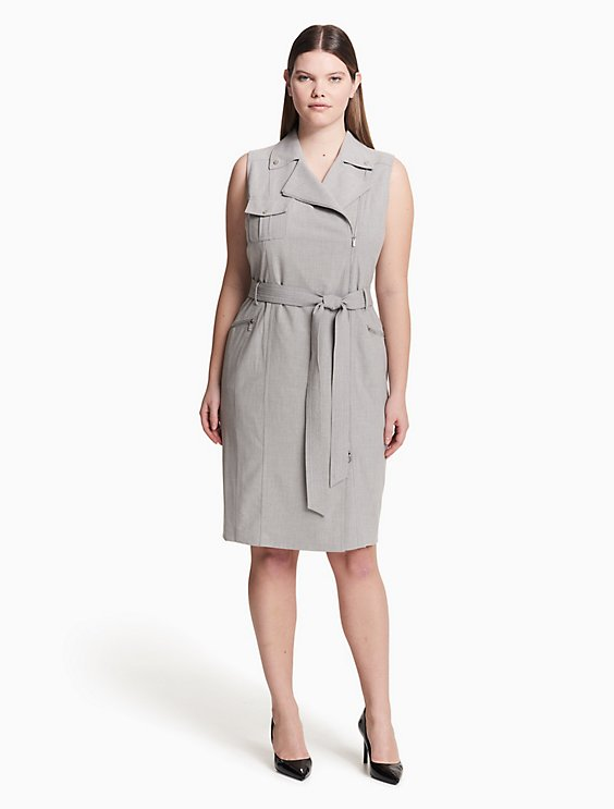 Plus Size Lux Belted Moto Dress Calvin Klein
