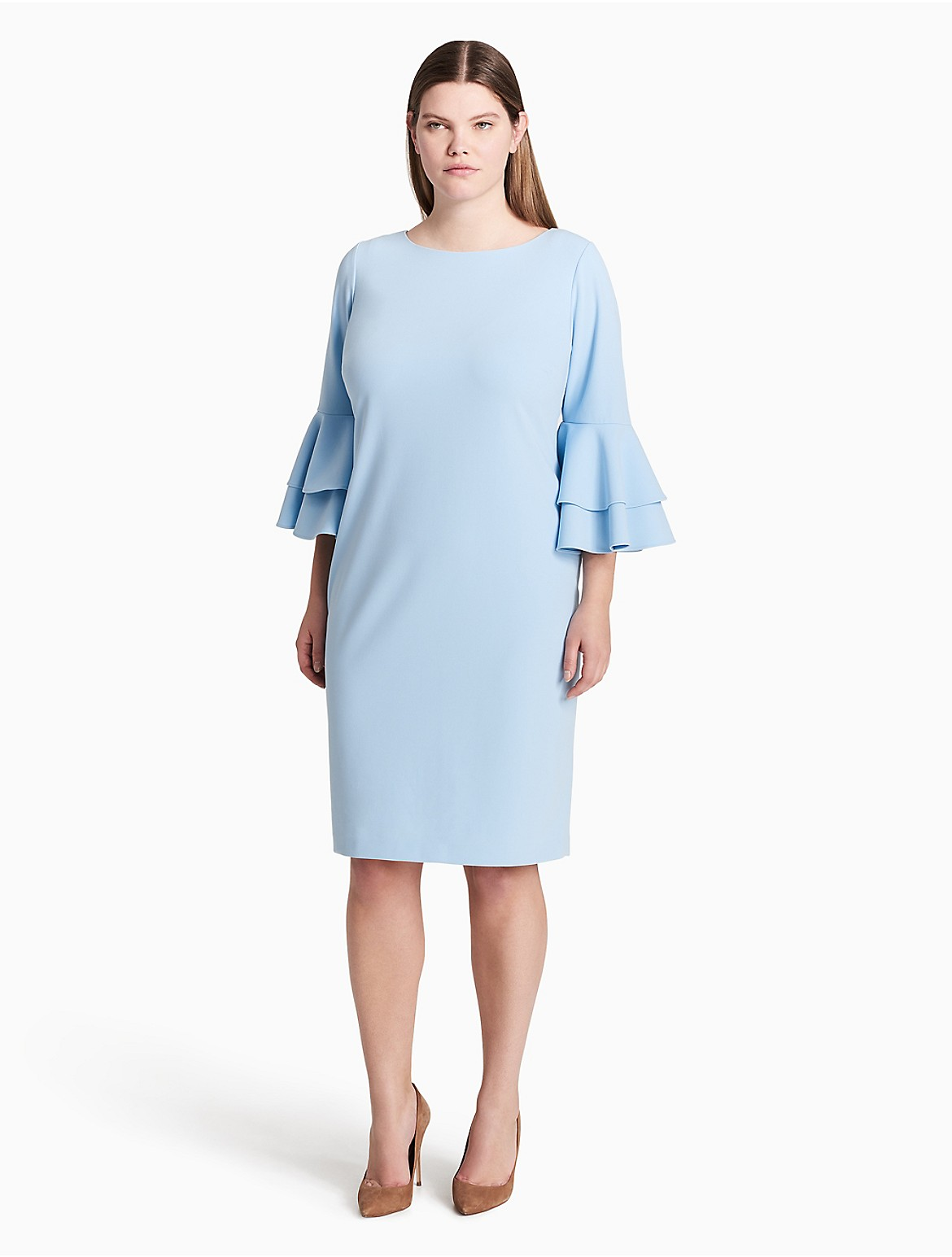 Plus Size Colorblock Bell Sleeve Dress Calvin Klein
