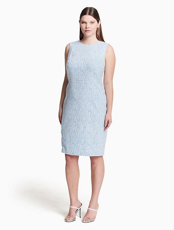 Plus Size Printed Compression Jacquard Sheath Dress Calvin Klein
