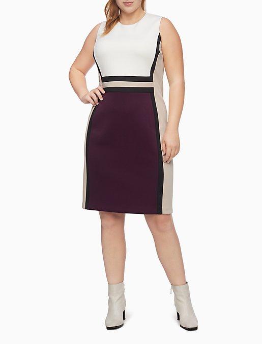 Plus Size Colorblock Scuba Sheath Dress   Calvin Klein