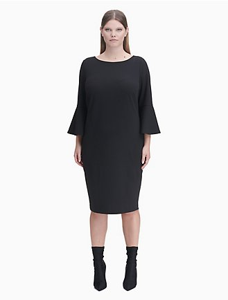 1c58dc1be19 plus size solid 3 4 bell sleeve sheath dress
