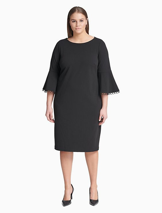 Plus Size Circular Lace Bell Sleeve Sheath Dress   Calvin Klein