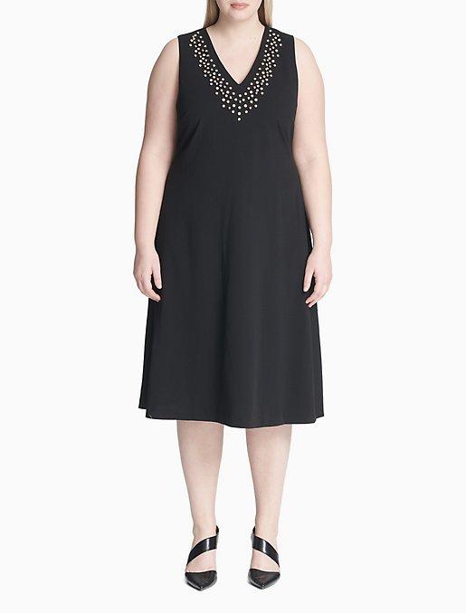 Plus Size Embellished V-Neck Sleeveless Dress