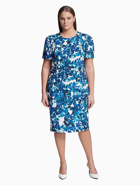 676f9717 plus size floral short sleeve sheath dress | Calvin Klein