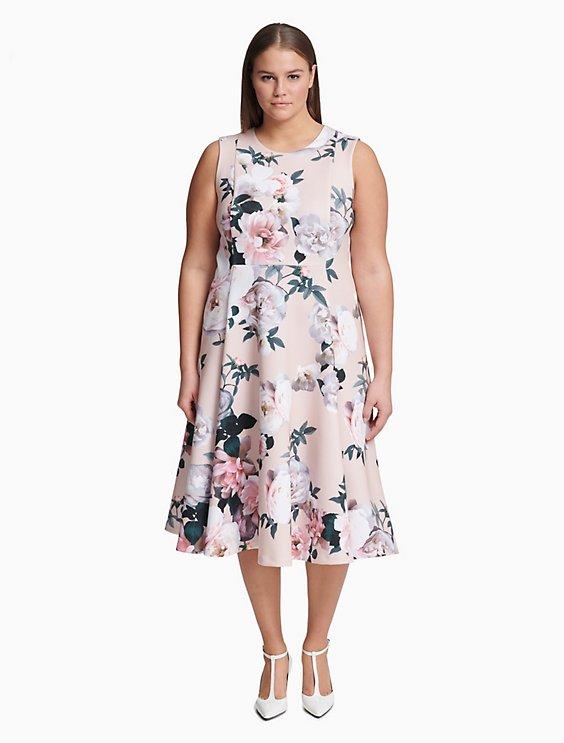 plus size scuba floral fit + flare dress | Calvin Klein