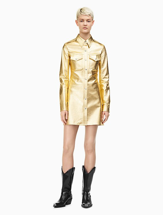 Leather Uniform Shirt Dress In Gold