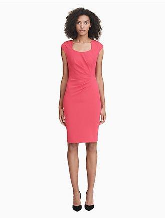 77d532668345 horseshoe neck ruched sheath dress