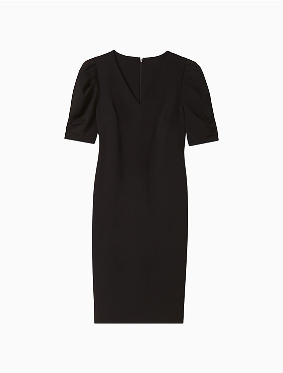 Ruched Puff Sleeve Sheath Dress by Calvin Klein