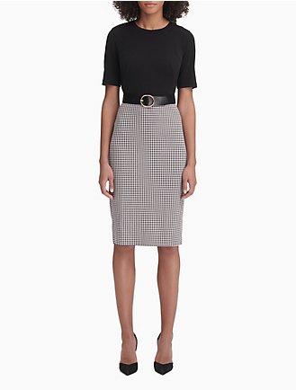8ee1d220580 Gingham Belted Short Sleeve Sheath Dress