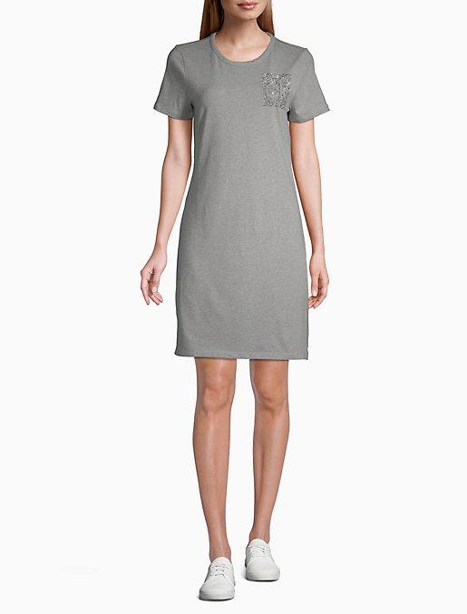 Rhinestone Logo Block Short Sleeve T-Shirt Dress