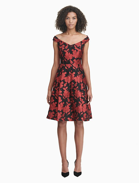 5c3f100d17 Price as marked floral brocade a-line dress