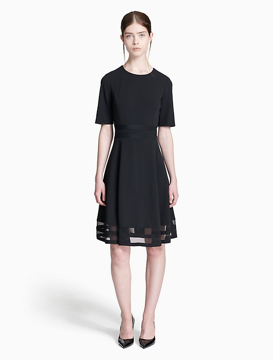 illusion 3/4 sleeve fit + flare dress | Calvin Klein