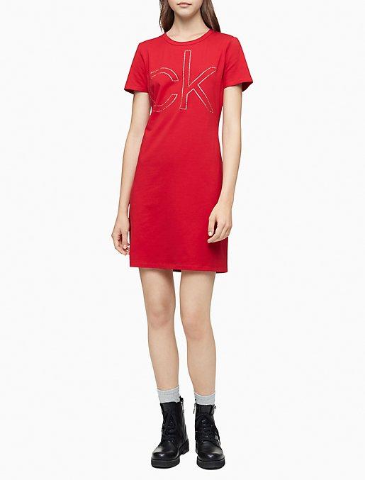 Rhinestone Logo Short Sleeve T-Shirt Dress
