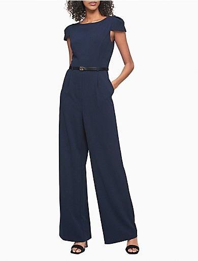 Image of Solid Cap Sleeve Belted Jumpsuit