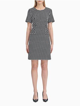f2a57368ea50cb Gingham Short Sleeve Sheath Dress