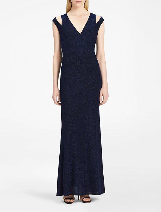 glitter knit v-neck gown | Calvin Klein