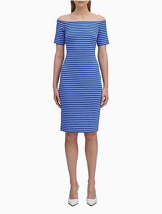 dd04a8c9b7eb Off-Shoulder Striped Sheath Dress