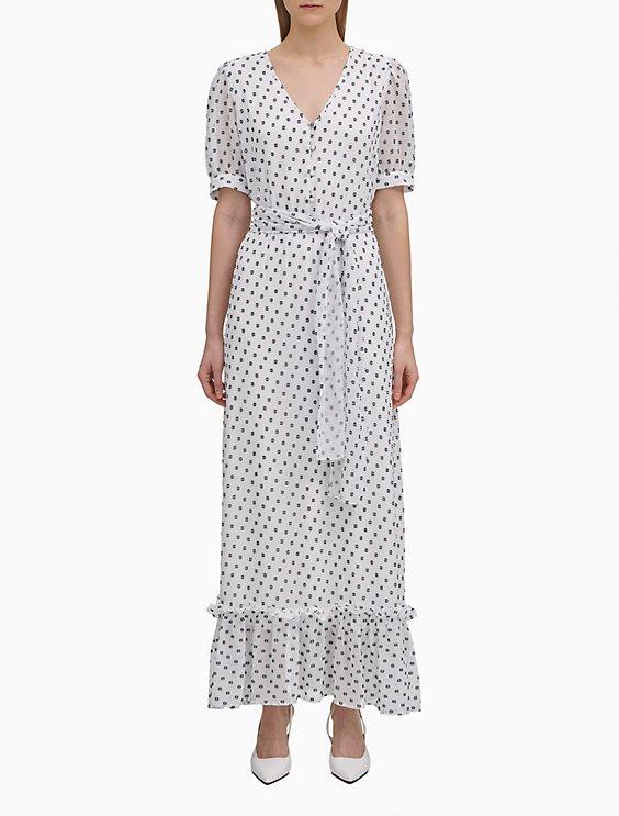 7663a57431 Printed Chiffon V-Neck Maxi Dress   Calvin Klein