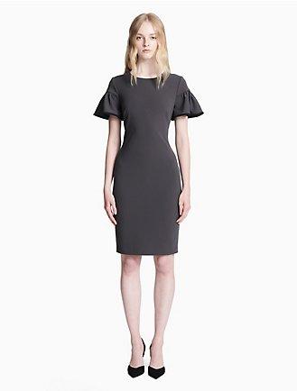08283502bee6 piped short sleeve sheath dress