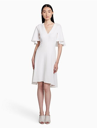 V Neck Flutter Sleeve A Line Dress
