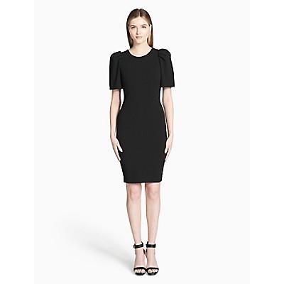 Solid Puff Shoulder Sheath Dress Calvin Klein