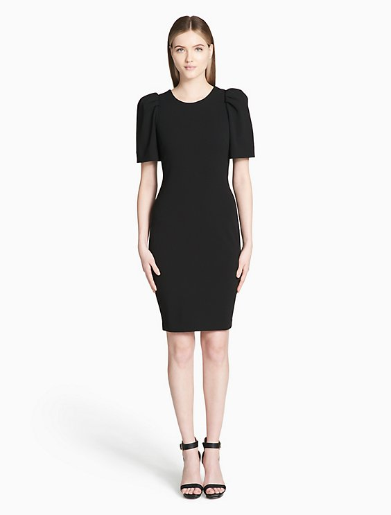 11124889 solid puff shoulder sheath dress | Calvin Klein