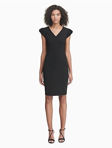 c45badc1e5bc v-neck puff sleeve sheath dress | Calvin Klein