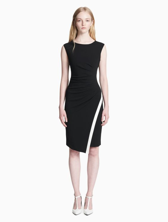 Contrast Trim Ruched Sleeveless Dress by Calvin Klein