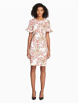 3ef09cf050fa floral bell sleeve sheath dress
