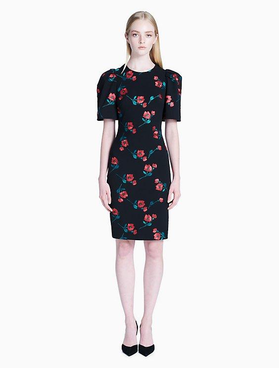 5e00576b floral embroidered short sleeve sheath dress | Calvin Klein