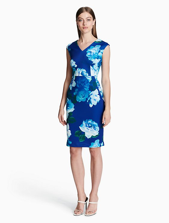 09ebecfaec62 floral v-neck sleeveless sheath dress | Calvin Klein