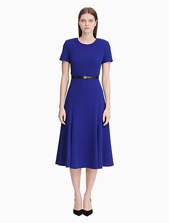 be5e48548a belted short sleeve a-line dress
