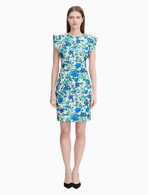 aef90d10 floral flutter sleeve sheath dress | Calvin Klein