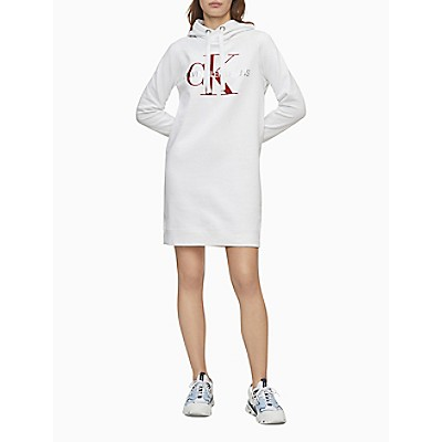 Metallic Monogram Logo Sweatshirt Dress