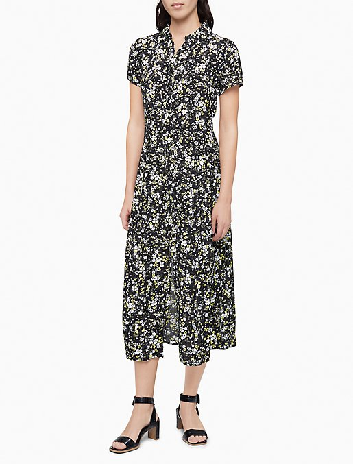 Printed Button-Down Short Sleeve Shirt Dress