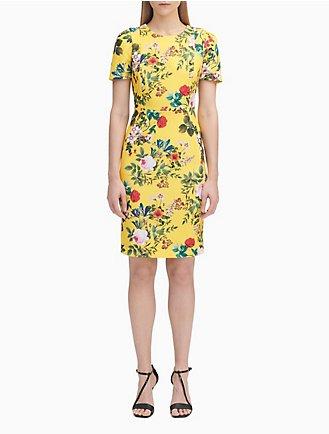 8c964ee466a Floral Print Short Sleeve Sheath Dress