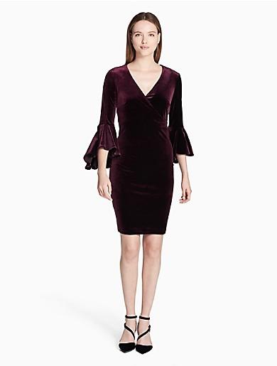 08c9ce52299fa velvet bell sleeve wrap dress