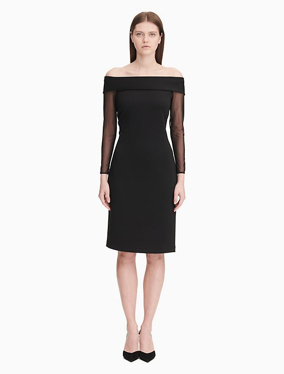 ce7560af off-the-shoulder mesh long sleeve sheath dress | Calvin Klein