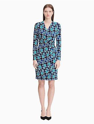 2371d5ec6fbdf dot faux wrap v-neck dress