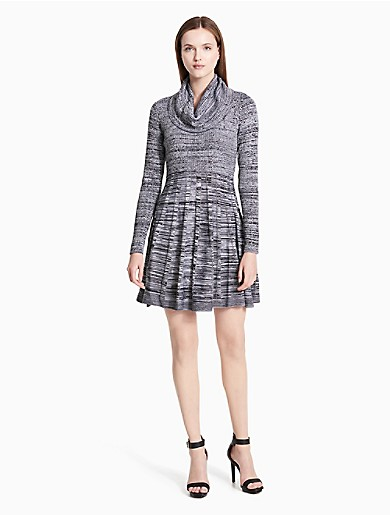 1a10338237 marled cowl neck fit + flare sweater dress