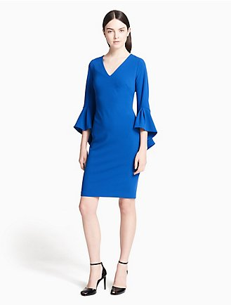 V Neck Flutter Sleeve Sheath Dress