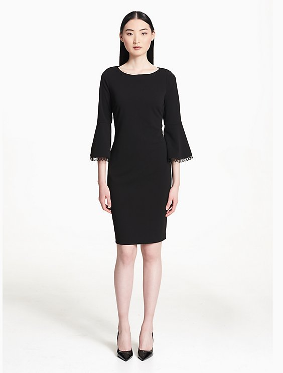 Circular Lace Bell Sleeve Sheath Dress